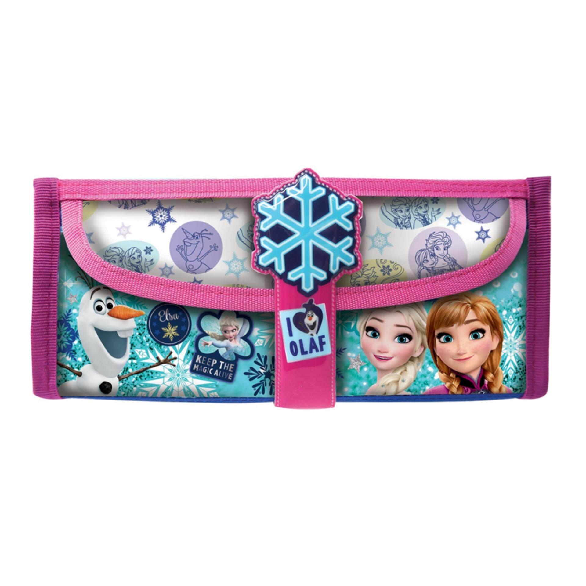 Disney Princess Frozen Square Pencil Bag With Pocket - Pink Colour