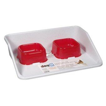 Dogit Gourmet Diner Set, with 2 x ruby red dishes and 1 x white plastic base, 41.5 x 31.5 x 10.5 cm