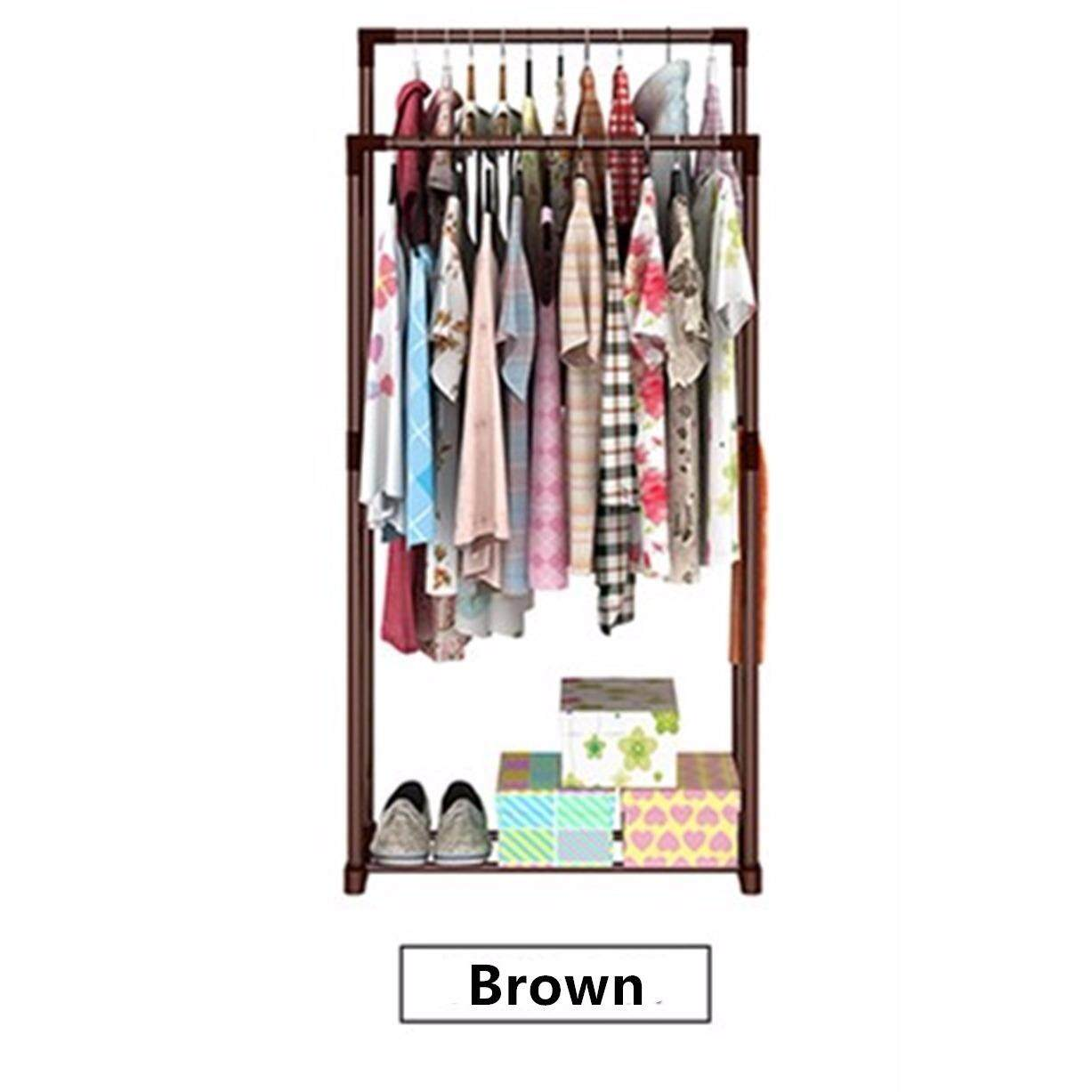 Double Pole Cloth Hanger and Organizer Rack (Brown)