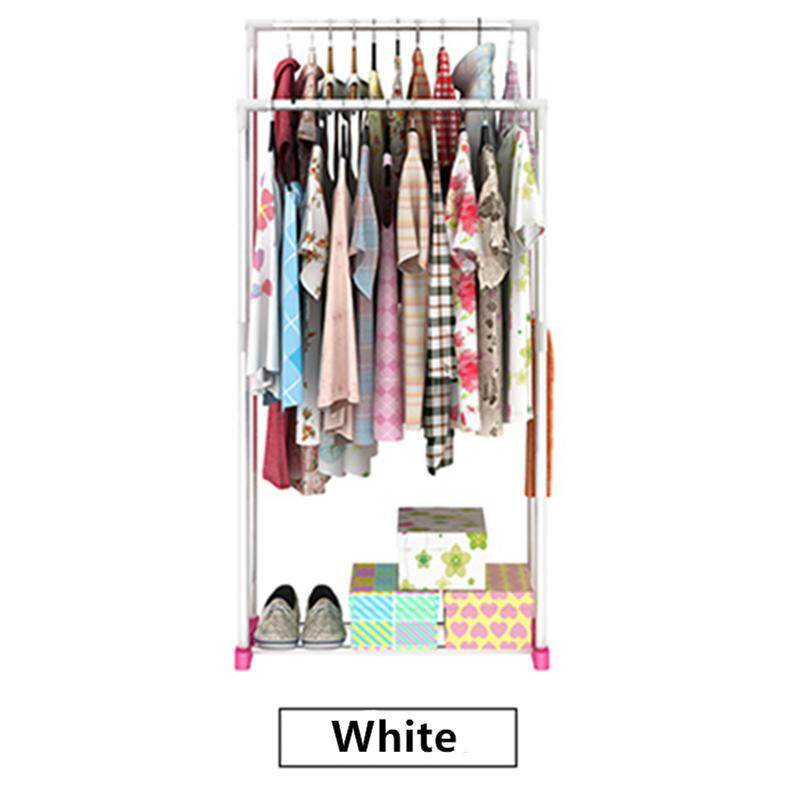 Double Pole Cloth Hanger and Organizer Rack (White)