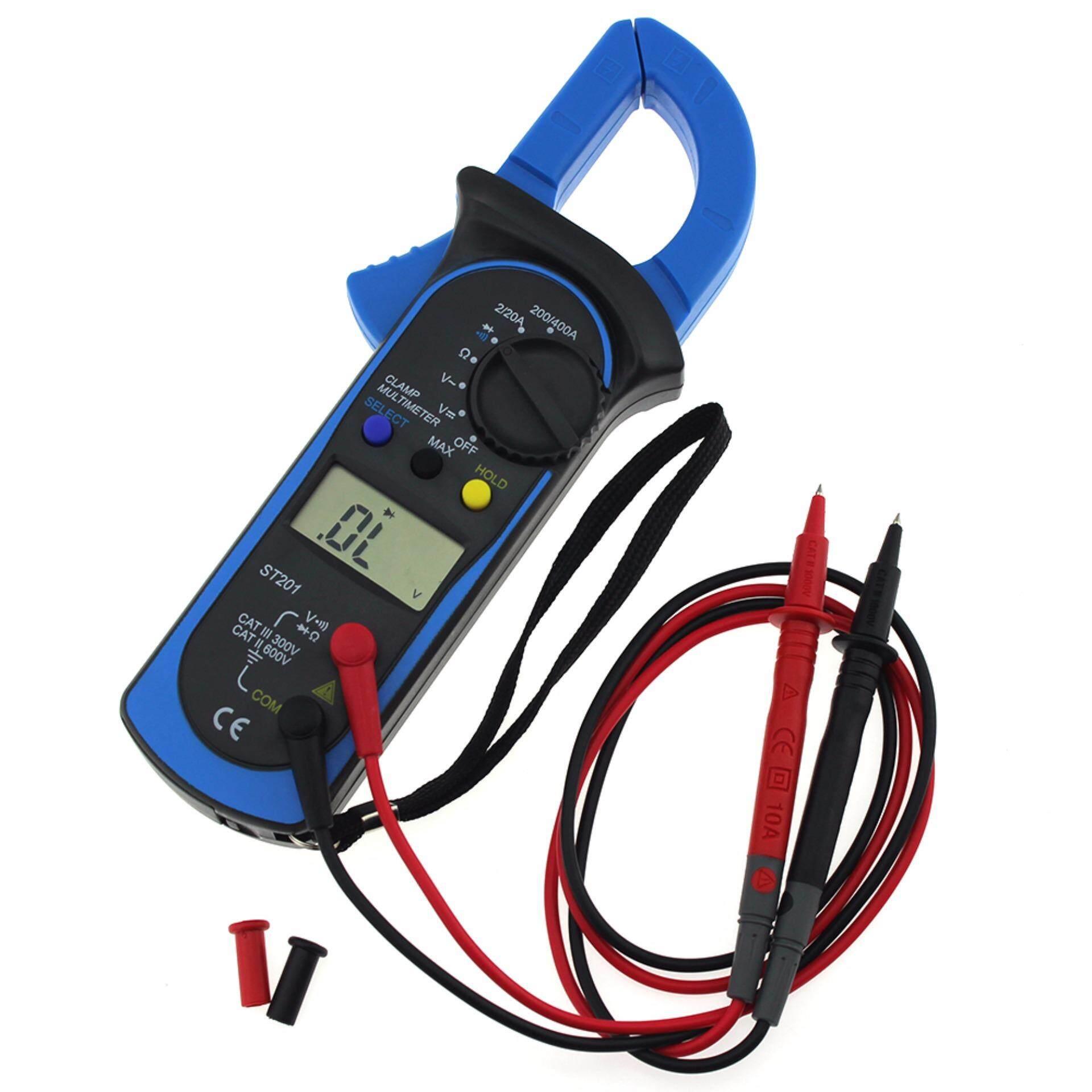 DT-201 Digital Clamp Meter LCD Display Clip-on Multimeter Handheld Kemasan Yang Bagus Voltage Current Tabling-Intl