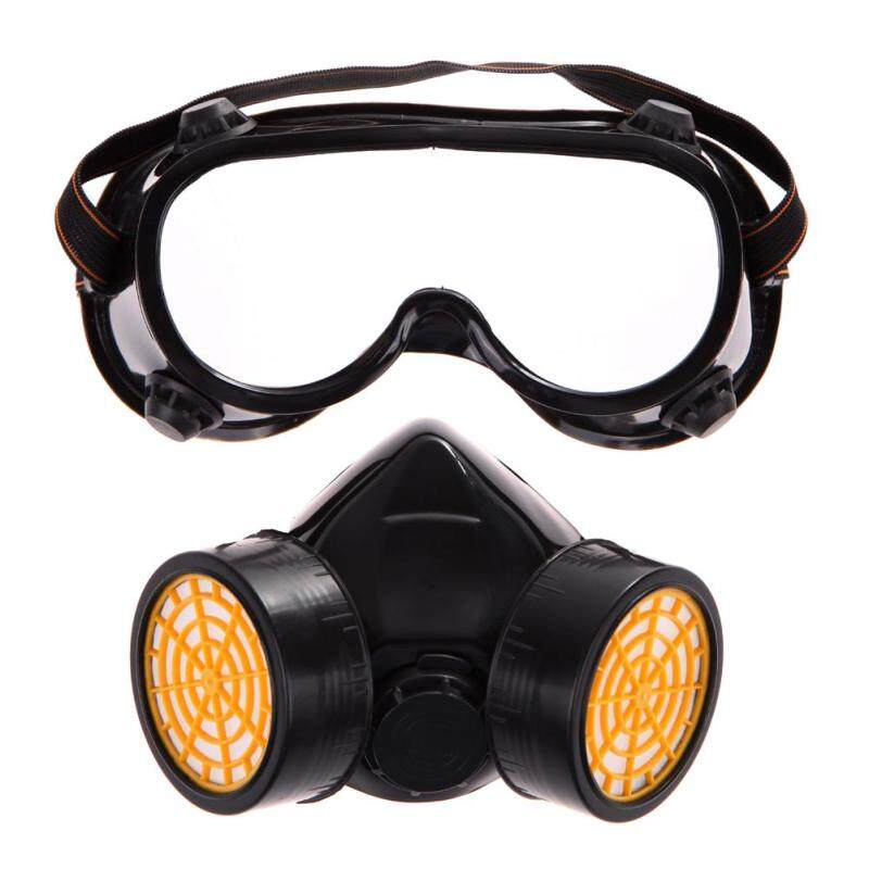 Dual Gas Filter Anti Dust Paint Respirator Mask Goggles Industrial Safety