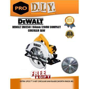 DWE561 DeWalt 184MM COMPACT CIRCULAR SAW 1200W FOC 1PCS EXTRA 7' X 40T CIRCULAR SAW BLADE