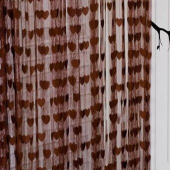 Eachgo 200*100cm Heart String Curtain Home Window Door BalconyLiving Room Bedroom Decoration Curtain (Dark coffee)