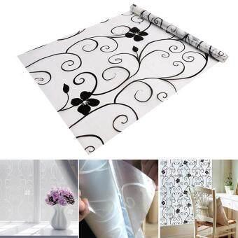 Eachgo 60cm x 200cm Floral Window Shading Stikers Self Adhesive Blocking Film for Bathroom Door Glass