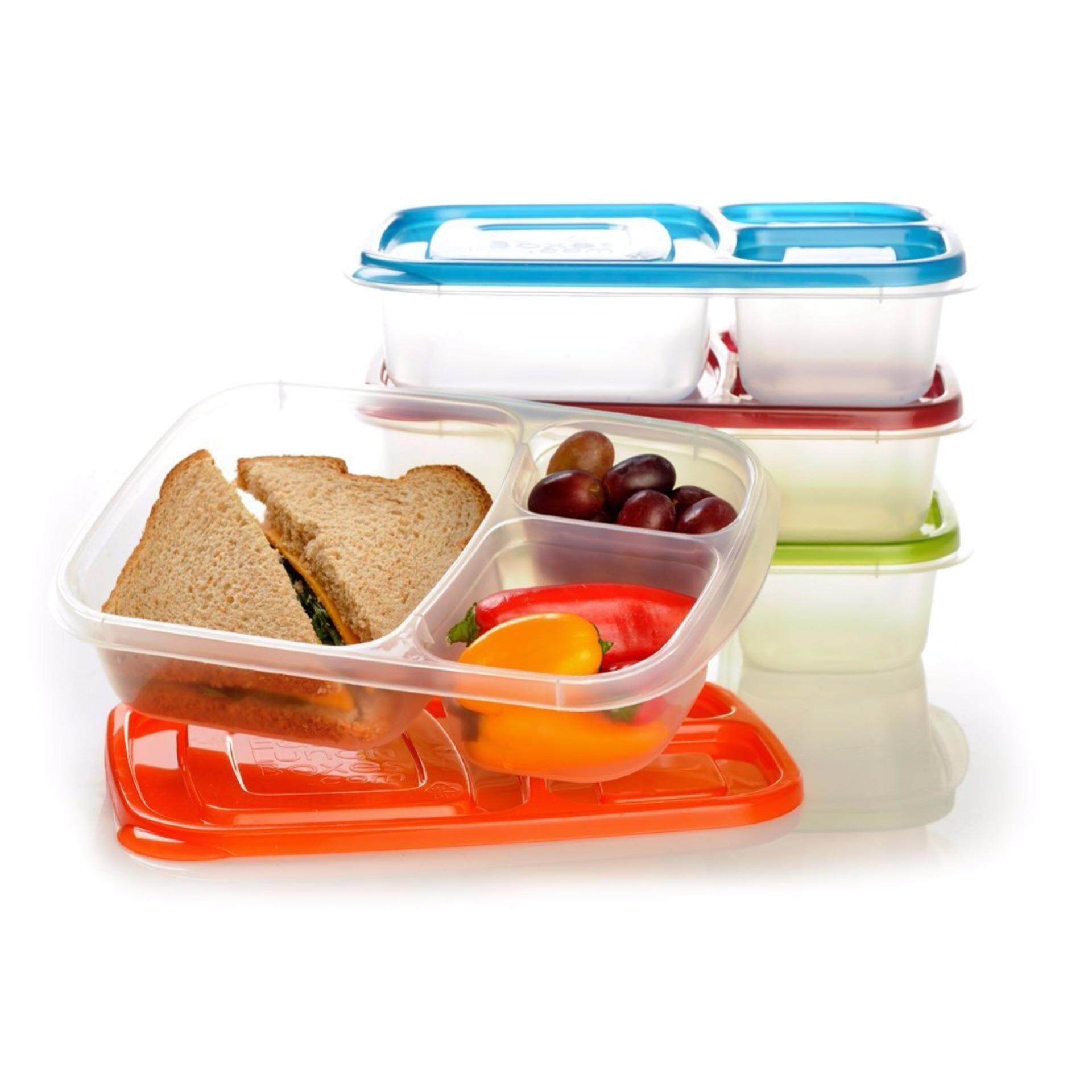 Easy Lunch Box with 3 Comparments Bento Lunch Box (2 Boxes)