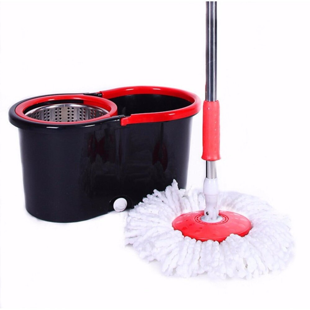 Easy Spin Mop Stainless Steel with 2 Microfibre Mop Heads (Red / Black )