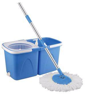 Harga Easy Spin Mop With Wheel & Plastic White Basket (Blue) + FREE 2Mop Heads