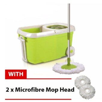 Harga Easy Spin Mop With Wheel & Plastic White Basket (Green) + FREE2 Mop Heads