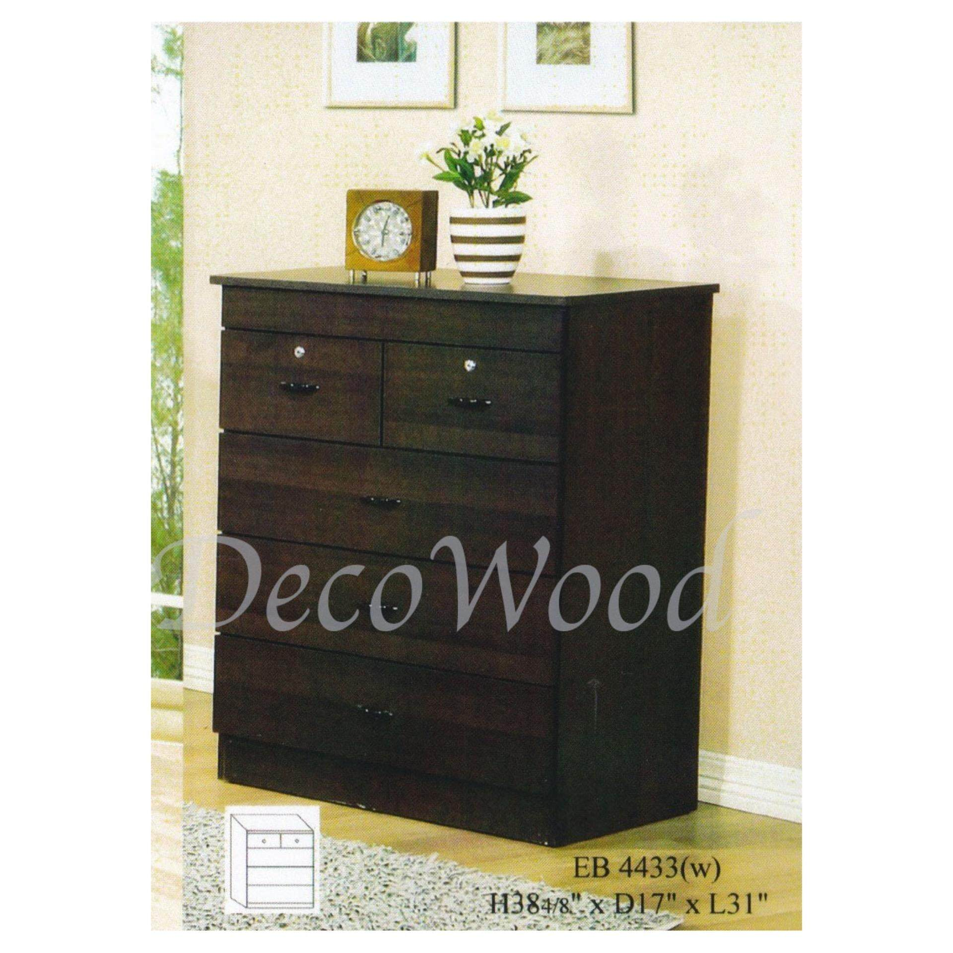 EB4433 Ready-Fixed Solid 5-Drawer Chest With Lock(Oak)