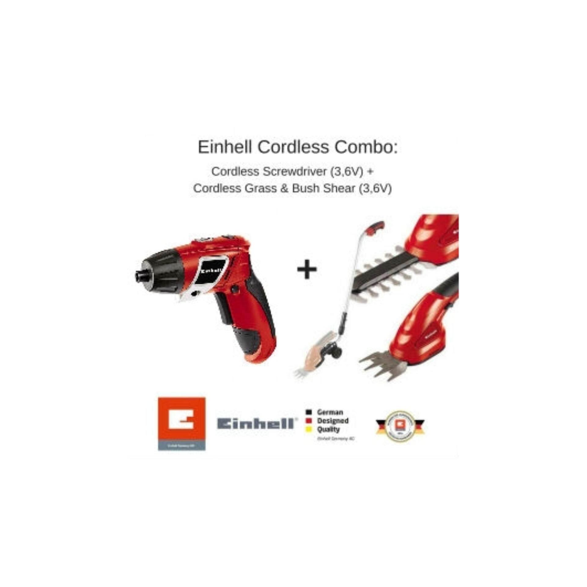 Einhell Cordless Combo : Cordless Screwdriver (3,6V) + Cordless Grass & Bush Shear (3,6V)