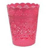(LZ) Elegant Carved Art Dustbin Small (Red)