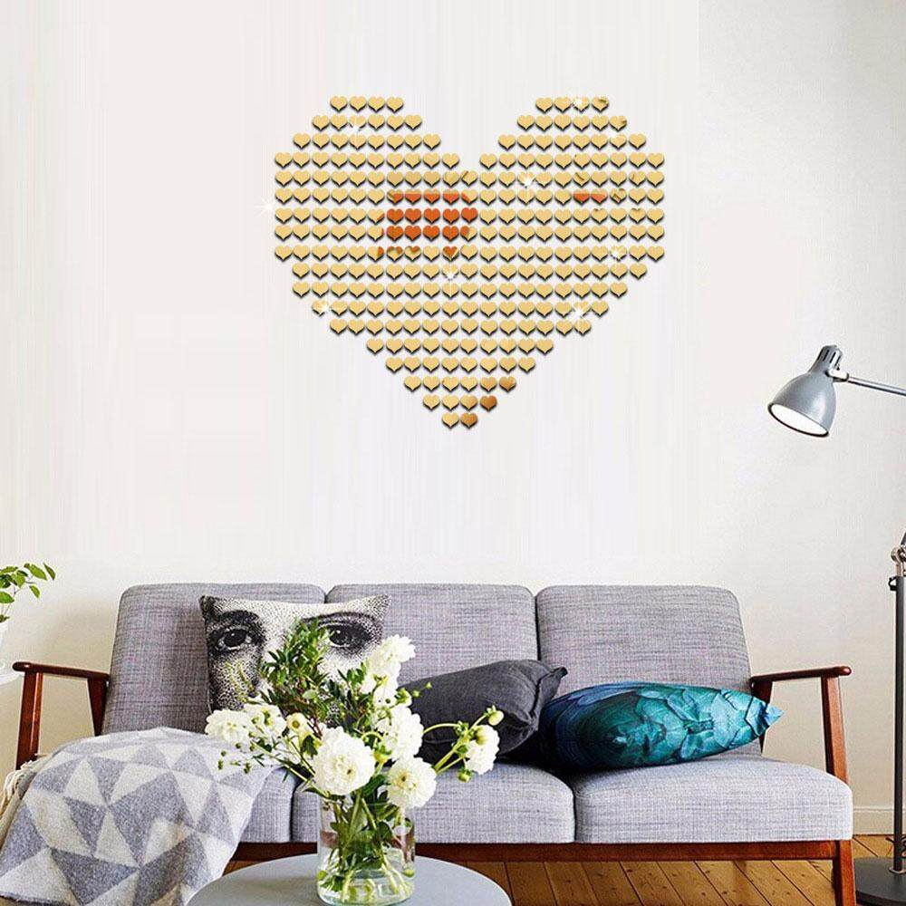 ... Epoch 50pcs/set Heart Shape Mirror Wall Stickers Cafe Home Room Decor Adhesive DIY ...