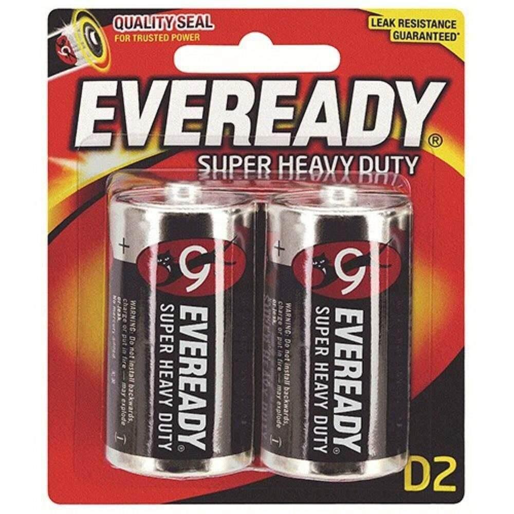EVEREADY Super Heavy Duty D Carbon Zinc Batteries - D Size - 2 Pack (Item No: B06-17) A1R2B230