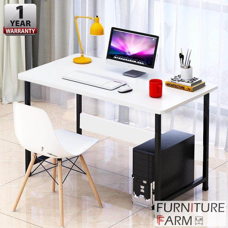 F 100 X 60 75 Cm Adjouter Black Steel Frame Table Wooden Writing Computer Desk Malaysia