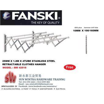 Fanski 25MM x 1.8M x 4Tube BM 42518 Stainless Steel Retractable Clothes Hanger