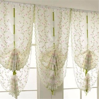 Fantastic Flower 1 Pcs Window Kitchen Bathroom Lifting Roll Up Rome Curtain Screen Embroidered 80*100cm -Pink flower