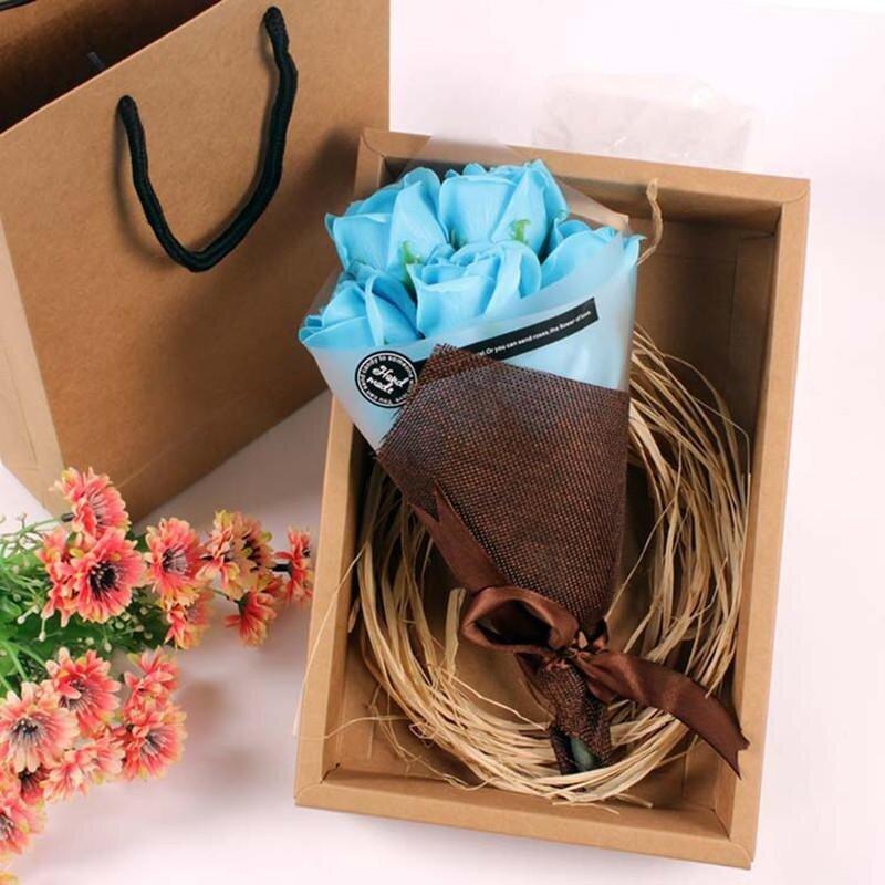 Jual Festival Hadiah Tangan Bouquet Sabun Bunga Kotak Hadiah Biru Intl Baru