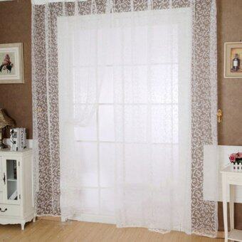 Floral Tulle Voile Door Window Curtain White - 2