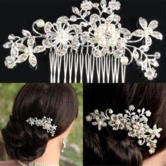 Floral Wedding Hair Accessories Pearl Crystal Flower Bridal Hair Comb Women Jewelry Size:Style 1
