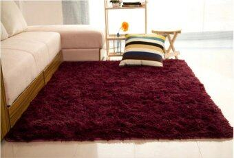 Harga Fluffy Rugs Anti-Skid Shaggy Area Rug Dining Carpet Floor Mat120x200cm (Red)