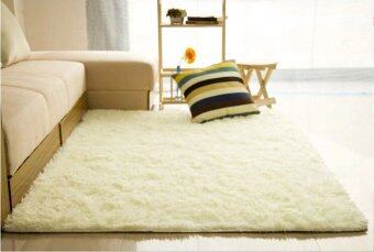 Harga Fluffy Rugs Anti-Skid Shaggy Area Rug Dining Carpet Floor Mat120x200cm (White)