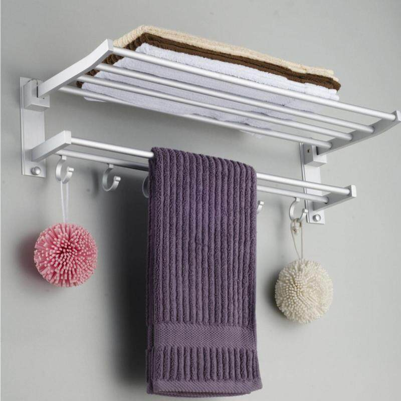 Buy Foldable Alumimum Towel Bar Rack Holder Hanger W/ 5 Hooks Bathroom Hotel Shelf Malaysia