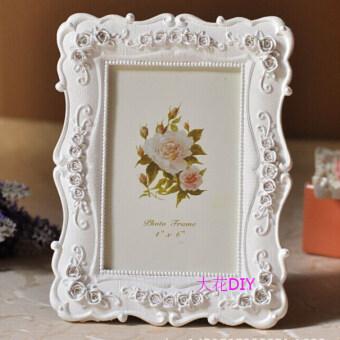 Frame photo frame embossed frame creative European art photo frame swing sets frame powder white flower