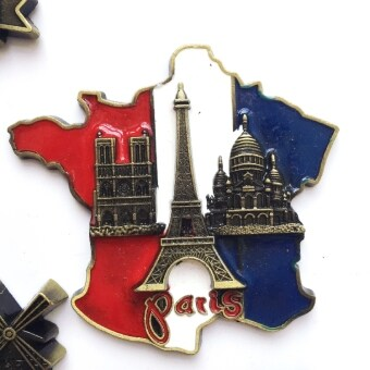 Harga France Paris tower AI erfei tower travel souvenir refrigeratorstickers magnetic stickers dimensional alloy metal strong magnetic