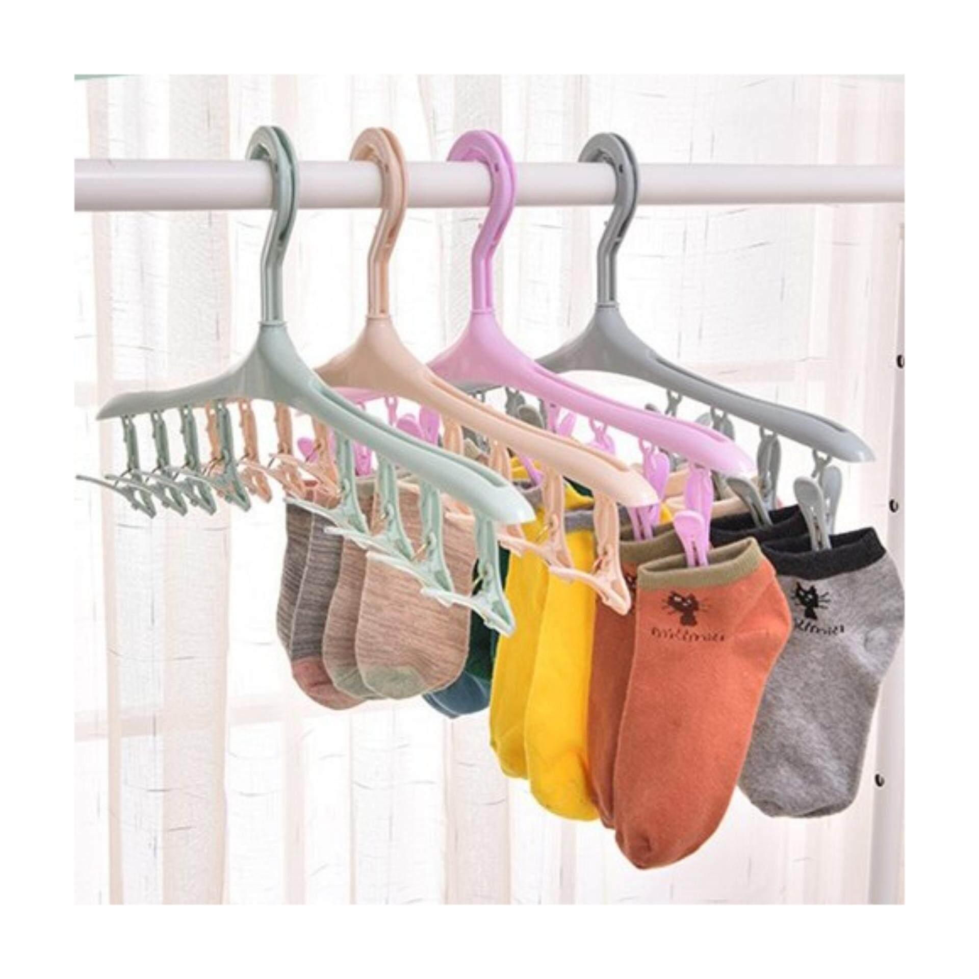 Function Plastic Windproof Clothes Hanger Socks Rack Hanger, Underwear Drying Hanger Clothes Rack with 8 Clips