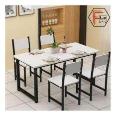 Furniture Farm Agustn 140cm Contemporary BLACK Steel Round Edged Rectangular Design Dining Table ONLY