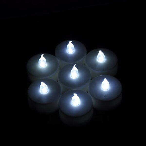 IBERL 1PC Flickering LED Tea Light Battery Candles Flameless Wedding Party (White .