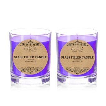 Harga GE Candle Works [Set of 2] Unscented Glass Filled Candle 2oz(Purple)