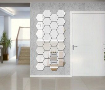 geometric hexagon acrylic 3d mirror effect wall sticker home decor