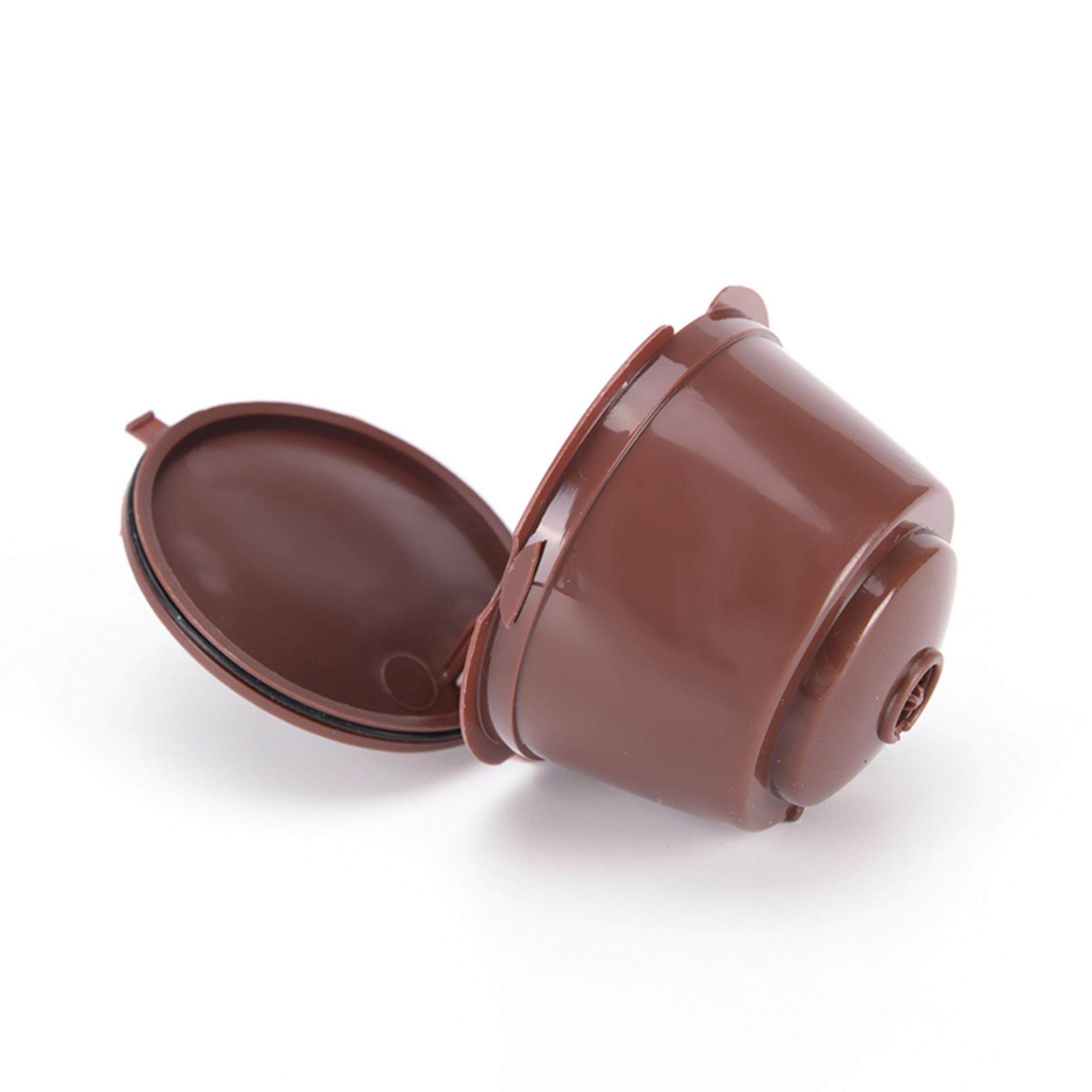 Good Reusable Capsule Pod Coffee Filter Cup Holder for Nescafe Gusto Machine Brown .