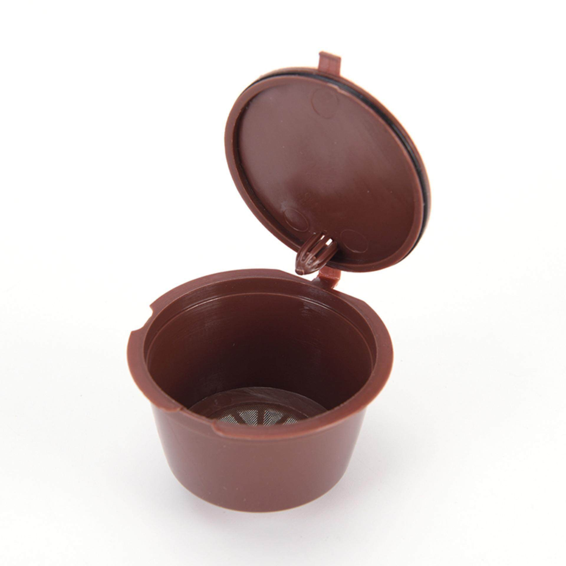 Good Reusable Capsule Pod Coffee Filter Cup Holder for Nescafe Gusto Machine Brown - intl .