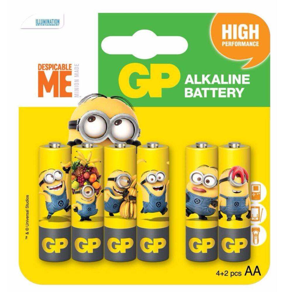 GP BATTERIES MINIONS EDITION ULTRA ALKALINE 15AU 4PCS FREE 2PCS AA BATTERY
