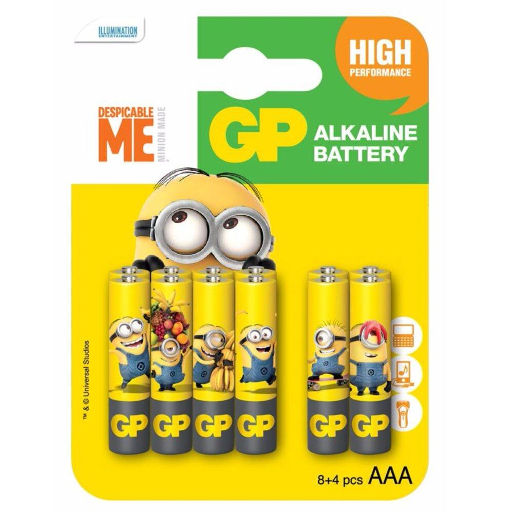 GP BATTERIES MINIONS EDITION ULTRA ALKALINE 24AU 8PCS FREE 4PCS AAA BATTERY