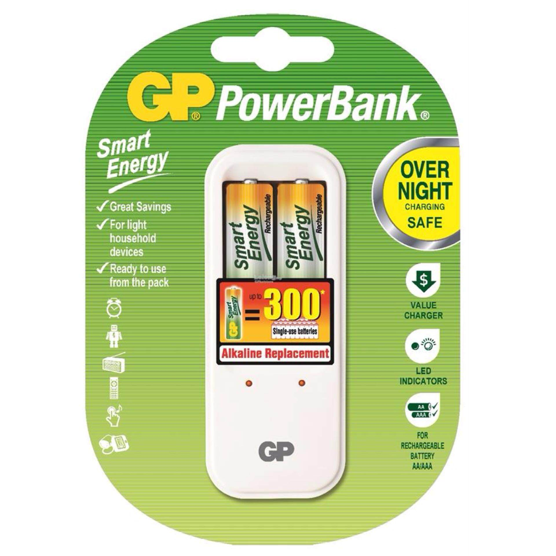 GP Batteries PB410 Overnight Power Bank Charger + 2pcs AA Rechargeable 1000mAh Smart Energy