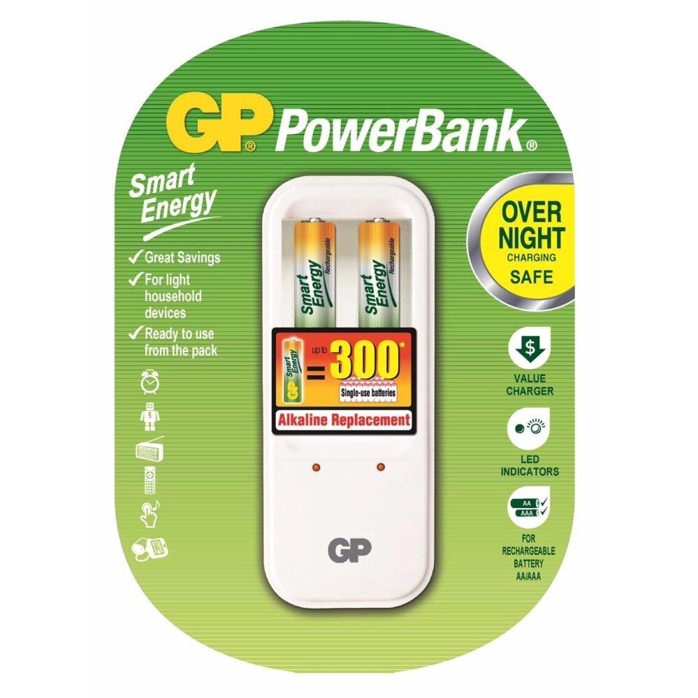 GP Batteries PB410 Overnight Power Bank Charger + 2pcs AAA Rechargeable 400mAh Smart Energy