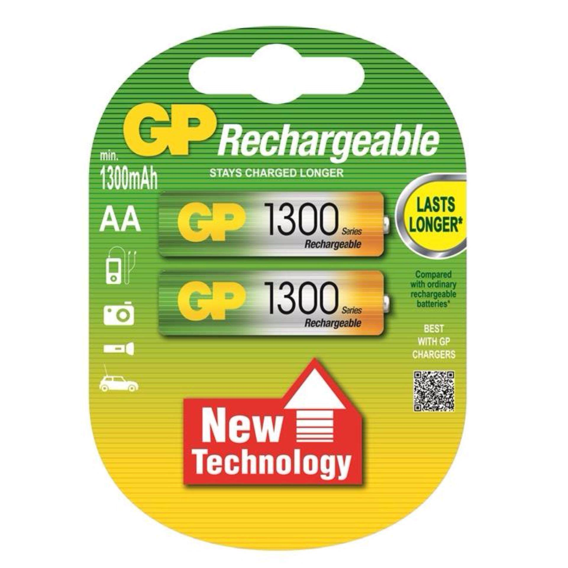 GP Batteries Rechargeable Battery 2pcs AA 1300mAH