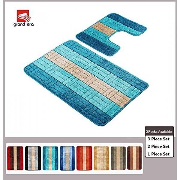 Grand Era 2 Piece Bath Mat Set Polypropylene Fiber Mat 22 x 39 with Contour Rug and Lid Cover for bathroom, Bright Blue - intl