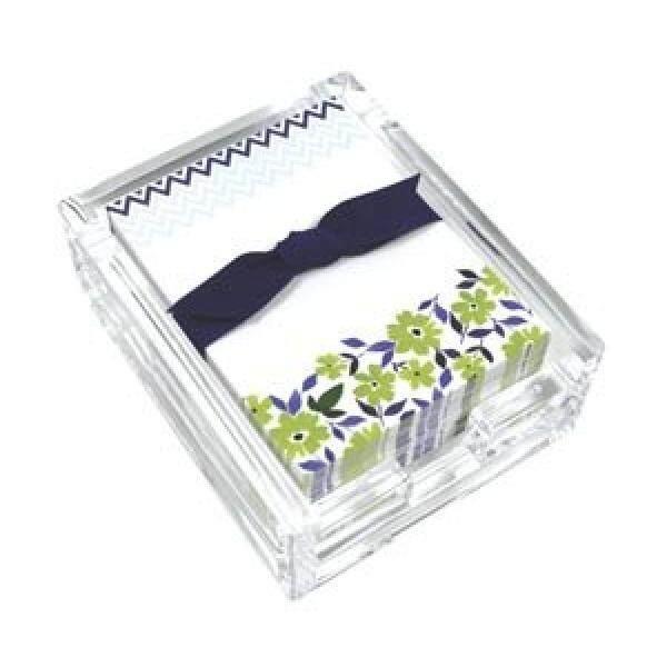 Bunga Hijau dan Chevron Akrilik Meja Tulis Note Set, Lembar Memo dan Pemegang Akrilik, 150 Catatan Makalah, 3.25X4.25