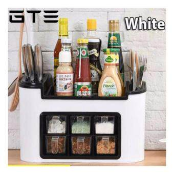 GTE All in One Multifunctional Kitchen Rack Six Grid Condiments Seasoning Storage Box Kitchen Organizer Set