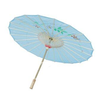 Harga Handmade Chinese Cloth Floral Umbrella Wedding Dance Props Sky Blue
