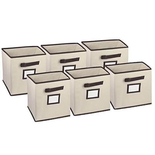Hangorize Lipat Penyimpanan Cube Lemari Organizer, Krem Klasik, 6 Pack dengan Handy Jendela Label untuk Mengidentifikasi Isi Easyet Termasuk 6 Collapsible Bilik Kain Penyimpanan Tempat Sampah-Internasional