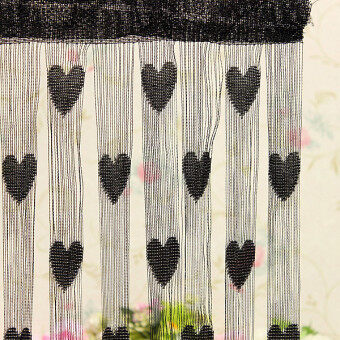 Heart Drop Beads String Door Window Curtain Tassel Divider RoomBlind Fly Screen Black