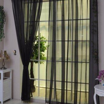 Harga HengSong New Colorful Tulle Single Door Window Screening CurtainSheer Valances Scarf 100*200(Black)