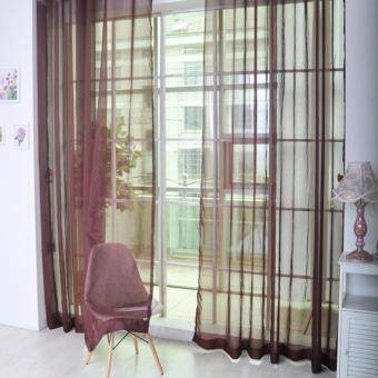 Harga HengSong New Colorful Tulle Single Door Window Screening CurtainSheer Valances Scarf 100*200(Coffee)