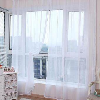 Harga HengSong New Colorful Tulle Single Door Window Screening CurtainSheer Valances Scarf 100*200(White)